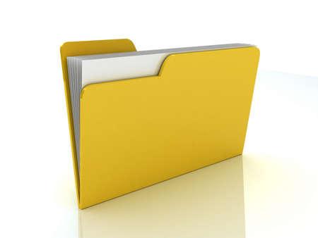 Yellow folder. File 3D. Icon isolated on white background Stock Photo - 11965997