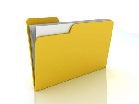 Yellow folder. File 3D. Icon isolated on white background Stock Photo - 11965997