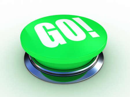3d button go green push technology press Stock Photo - 12115582