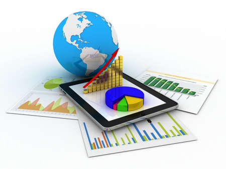Tablet showing a spreadsheet and a paper with statistic charts, surrounded by some 3d charts photo