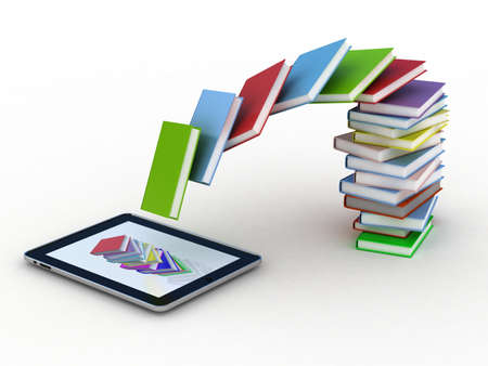 Books fly into your tablet, 3D images Stock Photo - 12115590