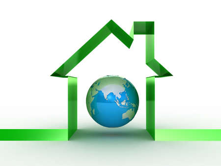 Globe and the house conceptually, 3D images Stock Photo - 12115555