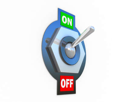 toggle: Chrome Toggle switch (ON)  3D images Stock Photo