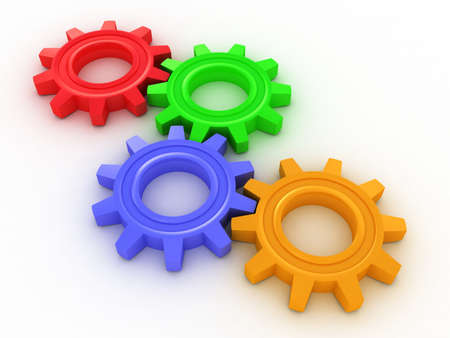 cogs and gears: Three-dimensional colored toothed wheels Stock Photo