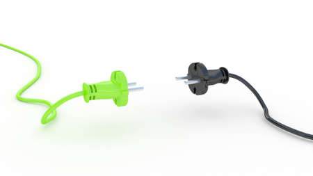 Green and black electric plug isolated on white background, 3D images