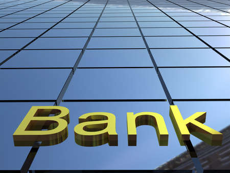bank safe: Bank building, 3D images