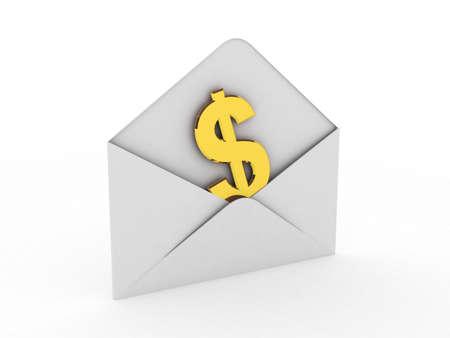 Geld in de envelop op een witte achtergrond