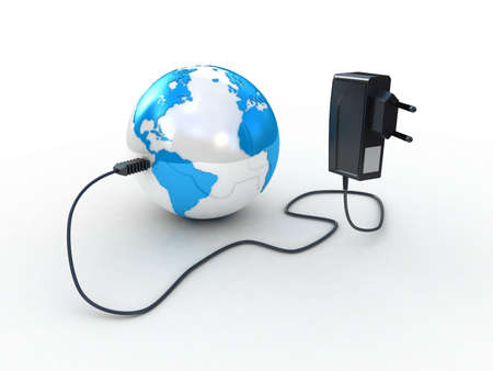 converter: Travel adapter and globe, 3D images