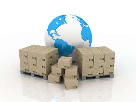 De wereldbol en dozen voor de levering, 3D-beelden
