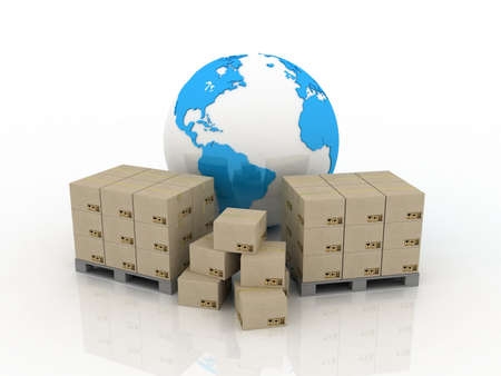The globe and boxes for delivery, 3D images