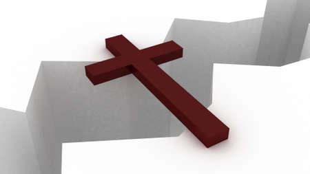 The christian cross over the precipice Stock Photo