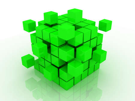 Abstract 3d illustration of cube assembling from blocks Stock Illustration - 12325422
