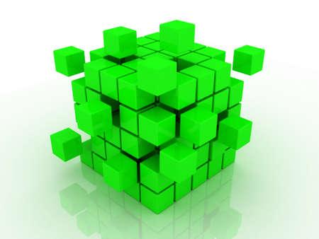 Abstract 3d illustration of cube assembling from blocks Stock Illustration - 12325422