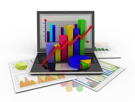 Laptop showing a spreadsheet and a paper with statistic charts, surrounded by some 3d charts Imagens