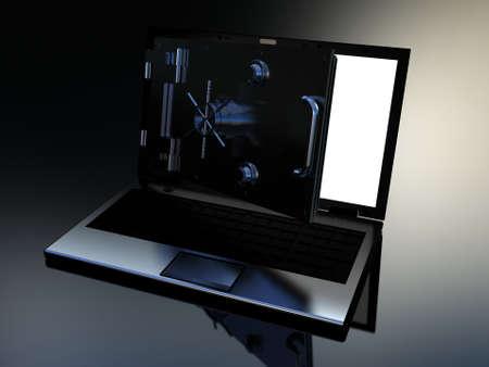 Safe laptop on white background, 3D Stock Photo - 12325441