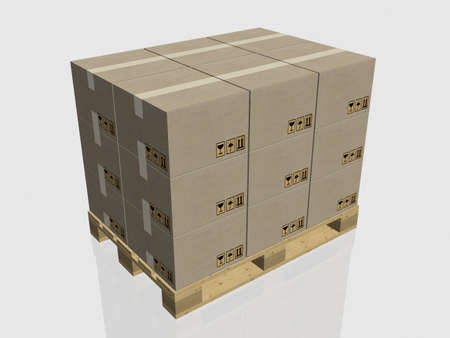Pallet with drawers for delivery, 3D images photo