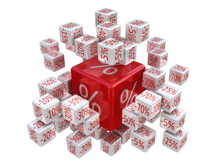Percent cubes, 3D images photo