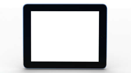 3D black tablet pc on white background Stock Photo - 12325679