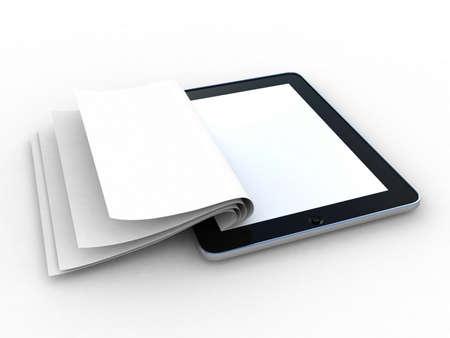 Zakelijke papier op tablet. Mobiel apparaat concepten 3D. geïsoleerd op wit