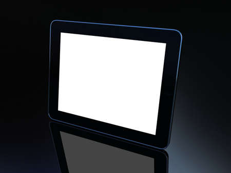 3D black tablet pc on black background Stock Photo - 12325662