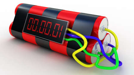 Bomb with digital timer ,3D images photo