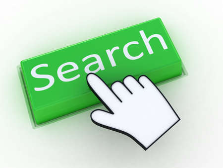 Green button SEARCH with hand cursor. Computer generated image. Stock Photo
