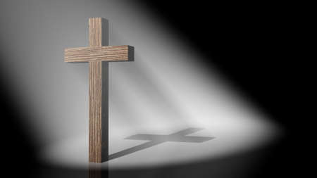 christian symbol: The christian cross on volumetric light, 3D images