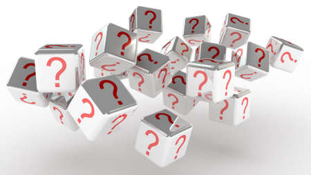 Cubes with a question, 3D images