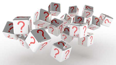 Cubes with a question, 3D images