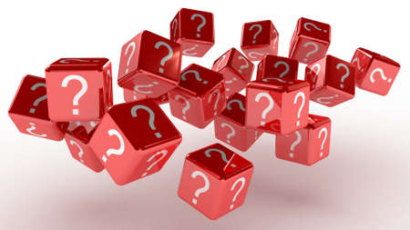 Cubes with a question, 3D images photo