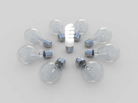 incandescent: Incandescent and fluorescent energy saving light bulbs