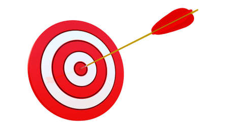 achieve goal: 3d illustration of archery target hit with  arrow, over white background