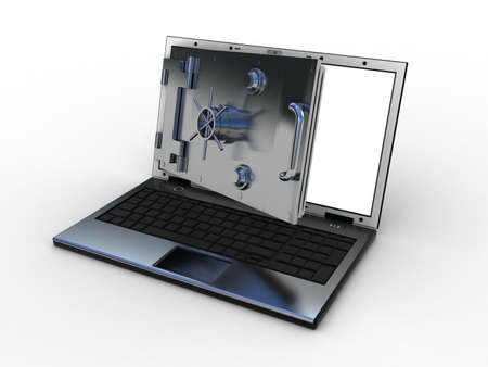 Safe laptop on white background, 3D photo