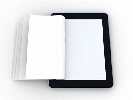 inovation: Business paper on tablet. Mobile device concepts 3D. isolated on white