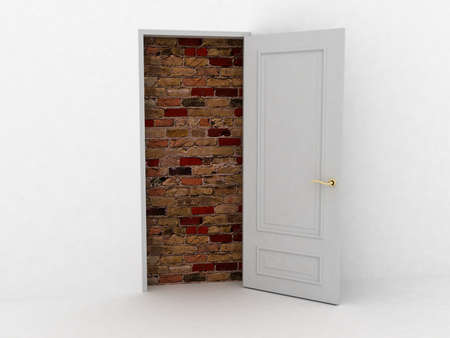 No escape and entrance. Doors laid bricks. 3d images Stock Photo - 12398545