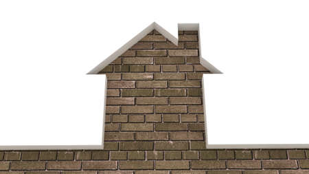 The brick wall and the house conceptually, 3D images Stock Photo - 12398544
