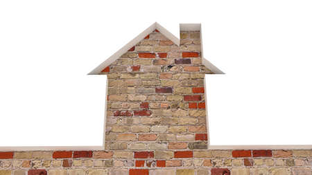 conceptually: The brick old wall and the house conceptually, 3D images