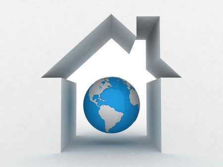Globe and the house conceptually, 3D images photo
