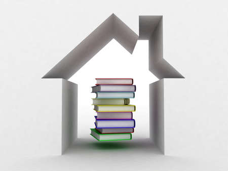 The book and the house conceptually, 3D  images photo