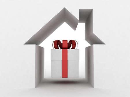 White gift box, 3D image photo