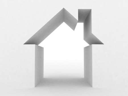 Abstract huis op een witte achtergrond, 3D-beeld