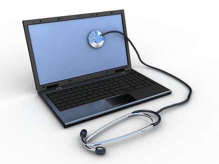 Stethoscope on black laptop, computer , 3D images photo
