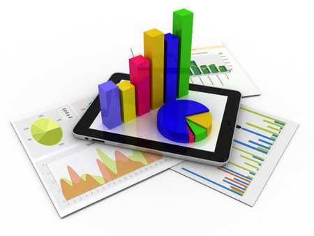 Tablet met een spreadsheet en een papier met statistiek grafieken, omringd door enkele 3d grafieken Stockfoto