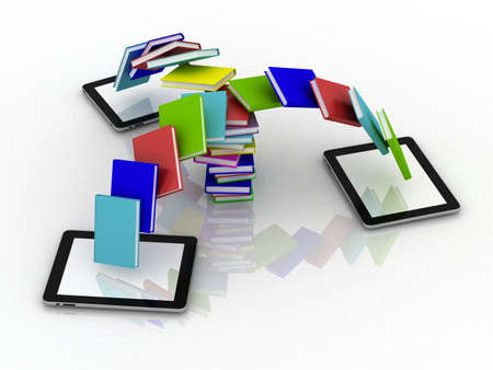 Books fly into your tablet, 3D images Stock Photo - 12862735