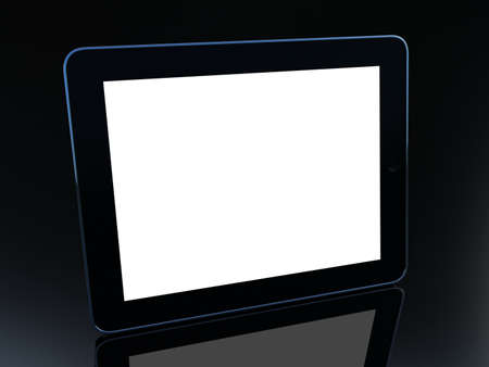 3D black tablet pc on black background photo