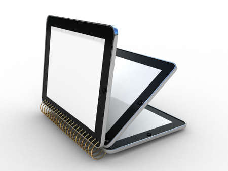 Notebook from tablet PC on white background 3D Stock Photo - 12862881