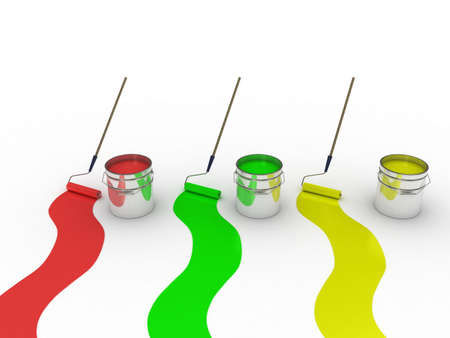 A bank with a paint roller, 3D images Stock Photo - 12862531