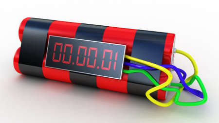 detonate: Bomb with digital timer ,3D images