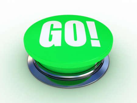 3d button go green push technology press
