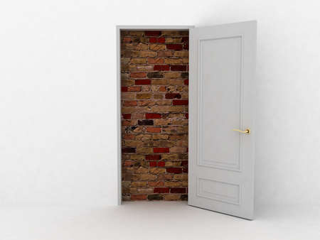 No escape and entrance. Doors laid bricks. 3d images